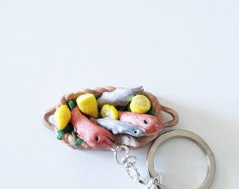 Keychains basket fisherman miniature polymer clay handmade