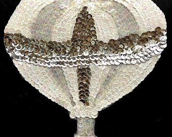 "Hot Air Balloon with White, Iridescent, Silver Sequins and Beads, 6.75"" x 6""  -B056"