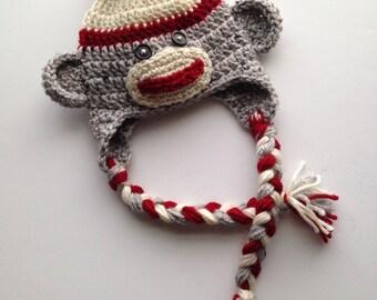 Newborn Sock Monkey Hat, Newborn Photo Prop, Crochet Sock Monkey Hat, 6 Month Photo Prop