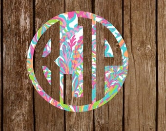 Lilly Pulitzer Inspired Monogram Vinyl Decal Sticker NEWEST PRINTS