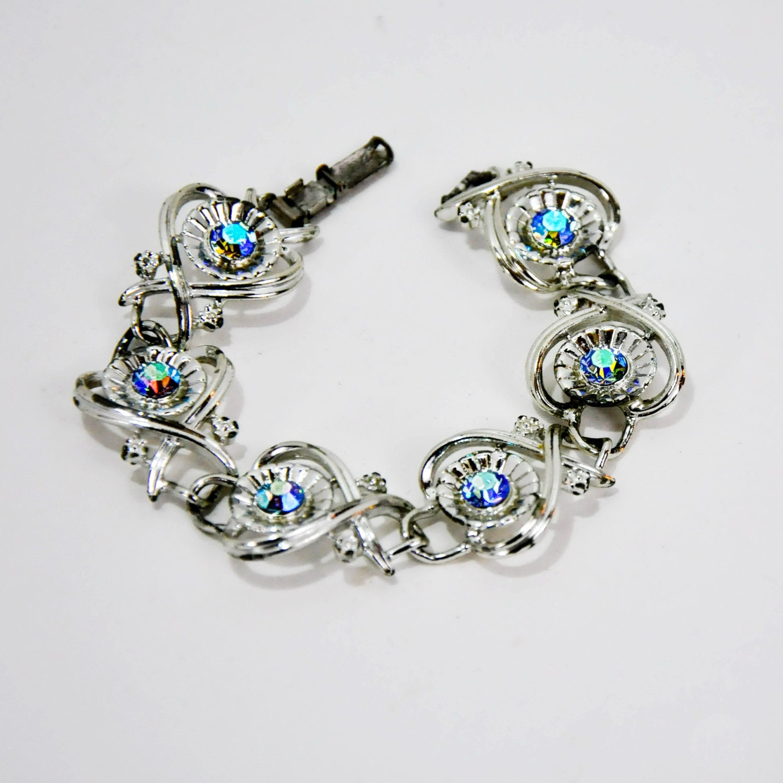 coro borealis bracelet blue rhinestones vintage