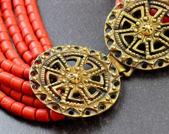 Ethnic beaded statement necklace