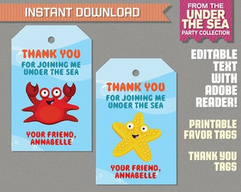 Under The Sea Party Favor Tag / Under The Sea Thank you Tag - Under the Sea Birthday - Edit and print at home with Adobe Reader