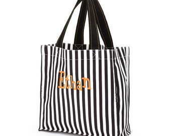 Personalized trick or treat bag - Name - Black and White Stripes Monogram Halloween Bag - Tote Bag Kids Tote - Girls  or Boys Tote