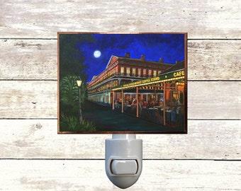 "Night Light, ""Cafe Du Monde"", New Orleans Icons,  Handmade, Copper Foiled"