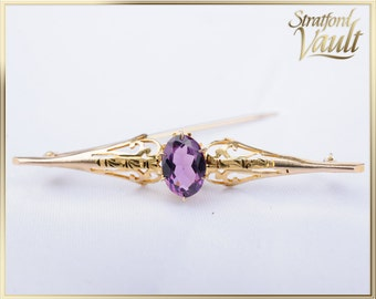 Antique Art Deco ~ Amethyst Bar Pin Brooch ~ 10k Yellow Gold ~ 1.25 ct Genuine Oval Facted Amethyst ~ Scroll Work ~ STR17313 ~ GIA ~ 1000.00
