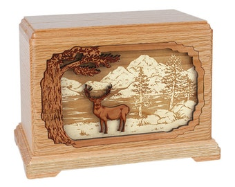 Oak Mule Deer Hampton Wood Cremation Urn