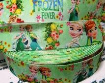 "2.3.4.5 yards 1"" Frozen Fever Elsa-Anna Inspired  Grosgrain Ribbon-Hairbow . Printed Ribbon 1"" ribbon Hair bow ribbon"