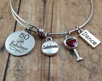 50 and Fabulous Charm Bracelet, 50th Birthday Bracelet, 50th Birthday Gift, Gift for Her, Wine Charm, Dance Charm, Celebrate Charm