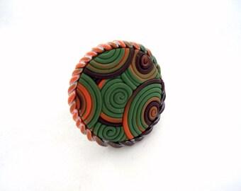 Polymer Clay Jewelry Filigree Adjustable Ring Handmade