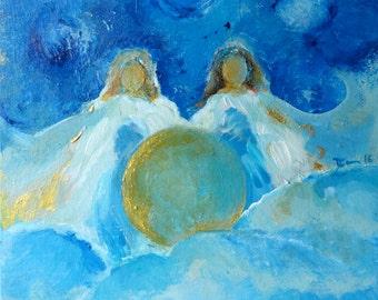 "ORIGINAL Angel ""Star Sisters"" Acrylic Colors on Canvas  8 x 8 inch Waldorf"