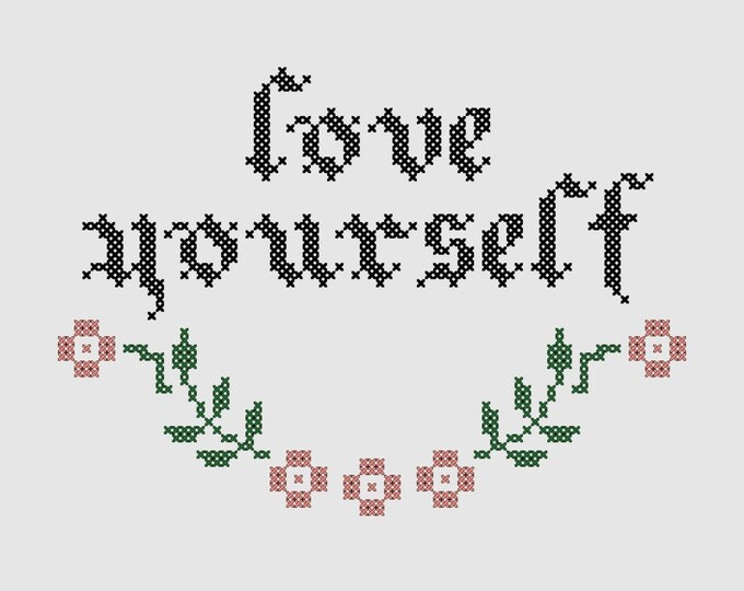 Cross stitch pattern 'Love yourself' - inspired by Justin Bieber