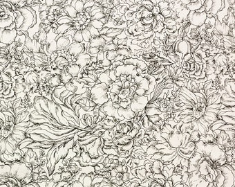 Black and White Flowers Fabric| cotton fabric by the yard | quilting fabric | home decor fabric | fabric for women