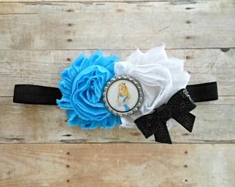 Alice in Wonderland Shabby Chic Headband, Alice in wonderland Birthday, Alice headband, Alice Hairbow, Mad Hatter, Baby girl headband