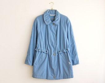 vintage sky blue windbreaker coat/ women rain coat/ fisherman sailor nautical coat size S small M medium