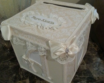 Cream And White Money Card Box / Gift Card Box
