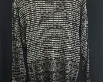 Semi Sheer 90's Bagazio Mens Sweater in Black and Silver Knit