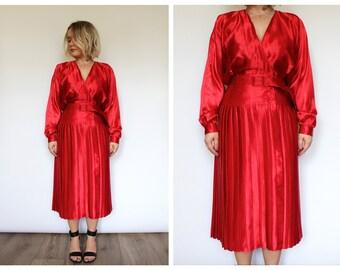 Vintage 1980's Satin Red Pleated Midi Dress 12 14 M L UK