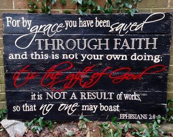 Scripture Wood Art, Wood Sign, Reclaimed Wood Sign, Wood Sign Depicting Ephesians 2:8-9, Scripture Art