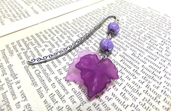 Purple Autumn Leaf Bookmark, Purple Rose Bookmark, Fall Bookmark, Nature Bookmark, Student Gift, Teachers Gift, Purple Bookmark