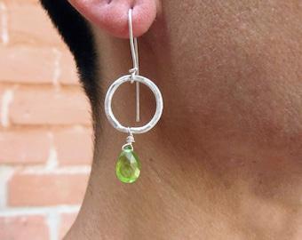 Peridot earrings. Peridot briolette earrings. Artisan earrings. Handcrafted sterling silver earrings.