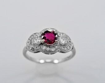 Antique Engagement Ring .65ct. Ruby, Diamond & White Gold Art Deco - J35888