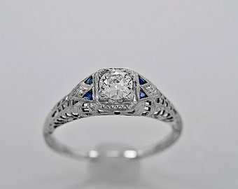 Antique Engagement Ring .31ct. Diamond, Sapphire & 18K White Gold - J35251