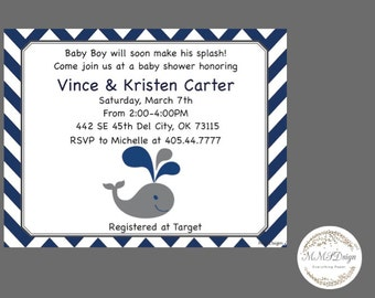 DIGITAL PRINTABLE Whale Themed Baby Shower Invitation