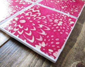 Tile Coasters, Pink Flower Coasters, Flower Coasters, Pink Coasters, Coasters Drink Coasters, Ceramic Coasters, Table Coasters