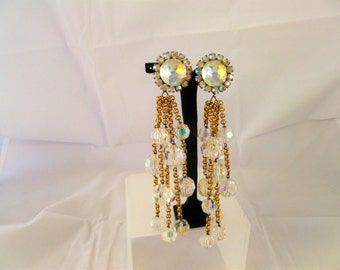 RARE 1971-80 CHANEL PARIS Extra Long Faceted Crystal Chandelier Earrings