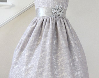 Silver Flower Girl Dress, Available in Various Colors