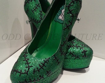 Frankenstein's Monster Horror Stitch Shoes in Green Glitter Complete with Bolts Psychobilly