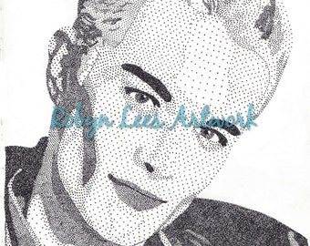 James Marsters Art Print, Stippling Dots in Ink Artwork Actor as Spike from Buffy Inspired