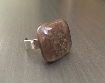 Brown fused glass ring in sterling