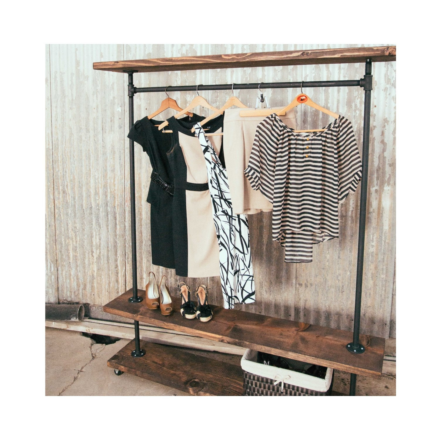 ird triple shelf industrial clothing rack rustic furniture. Black Bedroom Furniture Sets. Home Design Ideas