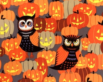 Fabric,  Owl Be Seeing You, Jack O Lantern Pumpkins, Halloween Fabric, Alexander Henry, Last One Yard