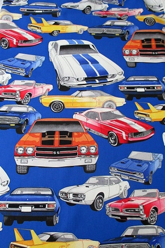 fabric pure muscle cars classic cars on royal blue alexander henry fabric by the yard from. Black Bedroom Furniture Sets. Home Design Ideas