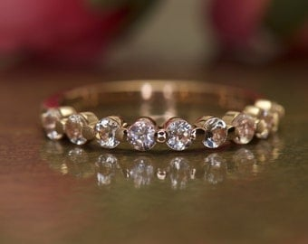 Morganite Wedding Band in 14k Rose Gold, Single Shared Prong with Closed Baskets, 0.35tcw, 2.5mm Wide, Gemstone Wedding Band, Brooke M
