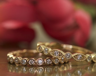 Bezel Set Bubble Band and Marquise and Dot Diamond Wedding Bands, 3/4 Eternity, Stacking Bands, Stackable, Milgrain, Cadence C & Natalie R