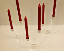Mid Century Modern Lucite Acrylic Set 3 Candle Holders Van Teal Thorpe Era