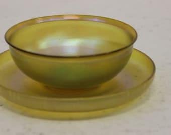 Vintage Signed Louis C. Tiffany Favrile Glass Finger Bowl with Saucer