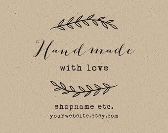 handmade with love -Packaging Stamp- Custom  Stamp - Craft Supplies-DIY tags- Personalized Rubber  Stamp -handmade by stamp