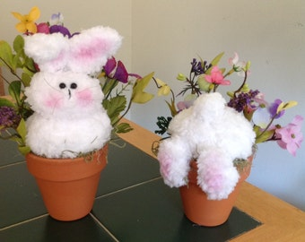 Flower pot Bunnies  set of 2