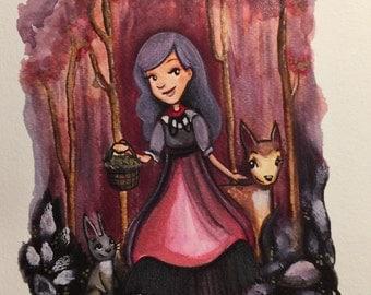 Little Red Riding Hood Art Print- unframed