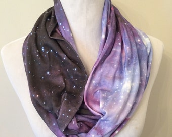 Galaxy Infinity Scarf - Purple Galaxy Scarf, Nebula, Outer Space, Stars
