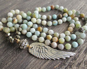 Boho Beaded Necklace with Silver Angel wing, long layering bohemian necklace, remembrance necklace