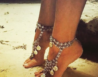 Pair of turkish coin boho barefoot sandal/ Belly dancing shoes