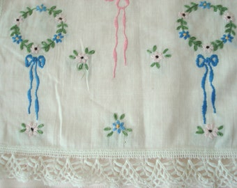 "Vintage Bureau Scarf Table Runner Doily Hand Embroidered Linen Crocheted Edge White Ivory Shabby Cottage Chic 13"" x 42"""