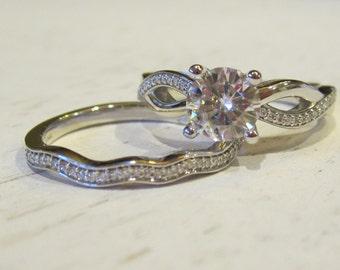 Forever One Moissanite Engagement Ring| 2 Carats| 14K White Gold| Diamonds