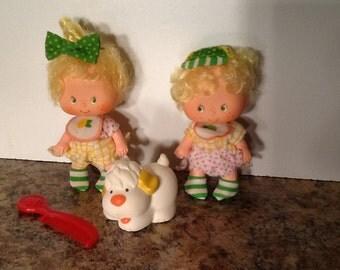Lem & Ada Vintage Strawberry Shortcake Dolls w/ Pet Complete!